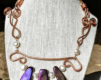 Copperwire wrapped braided horsehair lariat