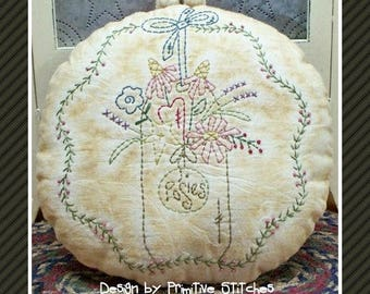 Posies-Primitive Stitchery E-PATTERN-by Primitive Stitches-Instand Download