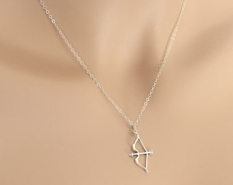 Bow Arrow Necklace, Arrow Bow Pendant, Birthday Gift, For Her, Sterling Silver, Tribal Necklace, Archery Necklace, Archery Gift, BeadXS