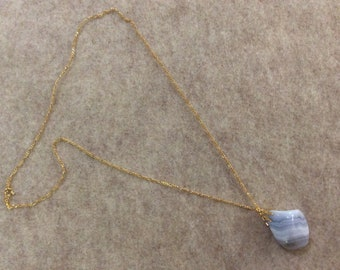 Dazzling blue lace agate pendant necklace on pure gold chain