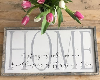 home definition, home sign, a story of who we are, farmhouse wall decor, wood home sign, framed wall art