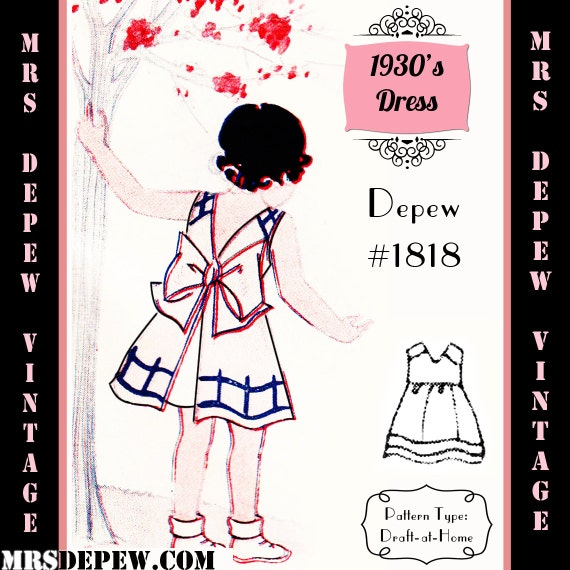 1930s Children's Fashion: Girls, Boys, Toddler, Baby Costumes  1930s Girls Dress or Apron - Any Size Depew 1818 Draft at Home Pattern -INSTANT DOWNLOAD-Vintage Sewing Pattern 1930s Girls Dress or Apron - Any Size Depew 1818 Draft at Home Pattern -INSTANT DOWNLOAD- $7.50 AT vintagedancer.com