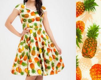 Pineapple Dress Fruit Dress Summer Dress Sun Dress Pinup Dress Retro Dress Rockabilly Dress Party Dress Tropical Dress Swing Dress 50s Dress