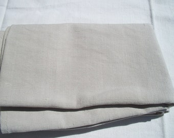 Antique French hand loomed Fabric Pale taupe Ecru Oatmeal linen lovely weave