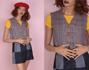 70s Plaid and Striped Cropped Vest/ XS/ 1970s