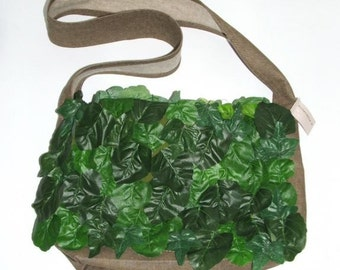 Green Foliage Messenger Crossbody bag