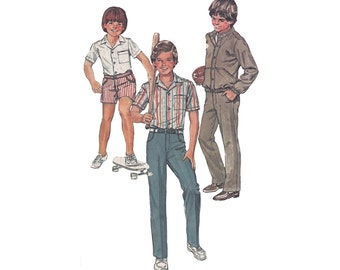 Vintage 80s Boys Pants and Jacket Pattern or Shorts and Shirt Simplicity  5957 Unlined Bomber Jacket Size 12 Waist 26 Vintage Sewing Pattern
