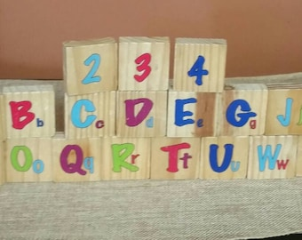 Wooden Alphabet Squares/Incomplete Set/21 Two Sided Wood Squares For Upcycle or Crafting/Nursery Decor/Photo Prop/Decor Use/Learning Toy