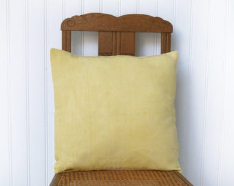 Drifter cushion cover in a French vintage metis linen, hand dyed, yellow and white, euro sham 18 x18 inches