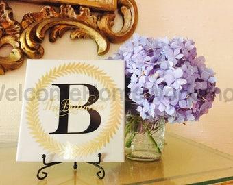 Monogrammed NAME TILE & EASEL, Housewarming Gift, Closing Gift, Established Sign, Name Sign, Hostess Gift, Custom Gift, Last Name Sign