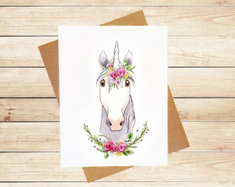 Unicorn Card  Cute Unicorn Card Cute Animal Card