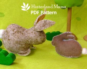 PDF Waldorf Rabbit Pattern - Felt Bunny Pattern - Waldorf Animal Pattern - Felt Rabbit Patterns - Rabbit sewing pattern- Bunny Rabbit family