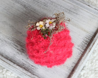 New Born Raspberry Knitted Beanie Hat, New Born Photography Prop