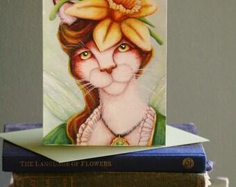Daffodil Fairy Cat Card, Fantasy Flower Cat Art, 5x7 Blank Greeting Card