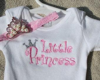 Little Princess Onesie With Crown Headband