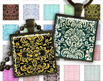 75% OFF SALE Digital Collage Sheet 1 inch squares 1 inch magnets Pendant Printable Download Instant Download for jewelry making - DAMASK