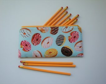 Pencil Pouch, Medium Zipper Pouch, Makeup Brush Pouch, Gift for Her, Donuts Accessory, Accessory Pouch, Small Makeup Bag, Cord Keeper Bag