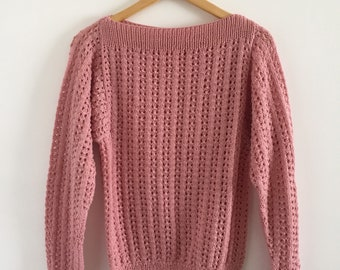 Vintage 1970s/80s Dusty Rose Boatneck Knitted Pullover Sweater - Size Medium