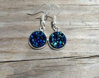 Dark Blue Druzy Dangle earrings, Flower earrings, Fishhook earrings, cabochon earrings, 12mm earrings, Gifts for her, Druzy Earrings