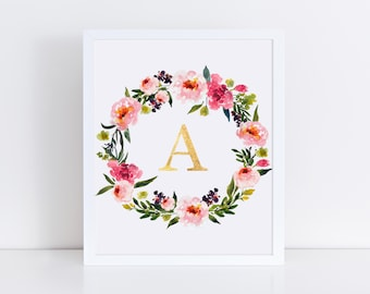 Monogram Wall Art, Monogram Nursery Art, Monogram Printable, Initial Art, Initial Printable, Name Art, Floral Monogram, Floral Nursery