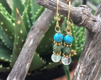 Blue/green and gold earrings