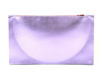 Eclipse - Handmade Lilac Purple Leather Clutch Bag Zip Pouch Purse SS17