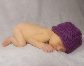 Baby Time Hat Purple Random Purl Newborn Photo Prop Beanie