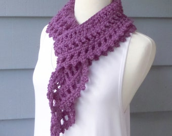 Crochet Lacy Scarf, Soft Ruffle Scarf - Custom Colors - Made to Order