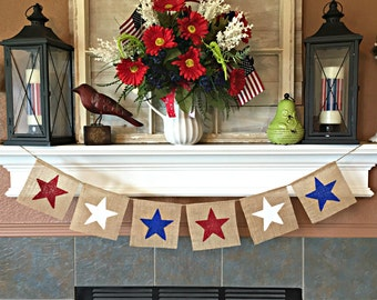 4th of July Banner, Patriotic Banner, 4th of July Decor, USA Banner, Patriotic Decor, July 4th Bunting, July 4 Garland, Red White and Blue