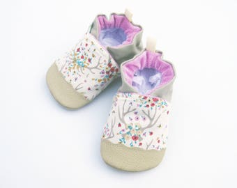 Classic Vegan Boho Floral Antlers / Non-Slip Soft Sole Shoes / Made to Order / Babies Toddlers Preschool