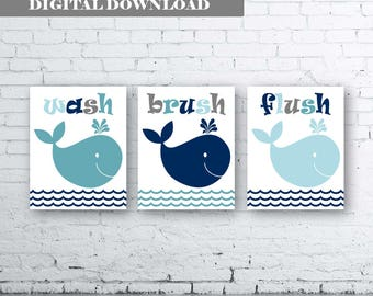WHALE Wall Art Prints -Set of Three.Instant Download-Boy Bathroom Art Print.Whale Bathroom.Nautical Bath Art.Whale Bath Art-Whale Bath Decor