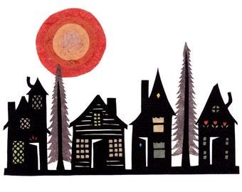 Wooded Village - 5 x 7 inch Cut Paper Art Print