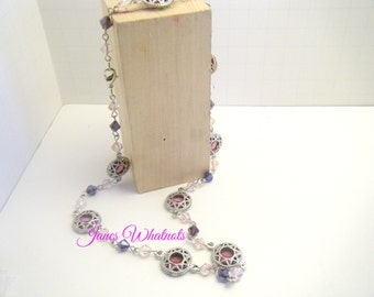 Purple Necklace - pink and purple crystals