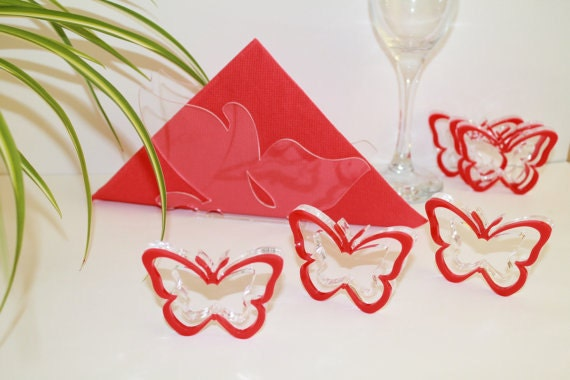 Clear acrylic napkin holder and 6 Red butterfly napkin rings Butterfly napkin holder Paper napkin holders Bridal shower favors Wedding decor