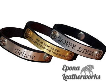 Custom Quote Bracelet - Leather Quote Bracelet - Leather Bracelet - Custom Bracelet - Epona Leatherworks