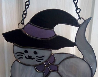 Stained Glass Halloween Kitty