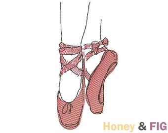 Ballerina Shoes Embroidery Design-Ballerina Embroidery Design
