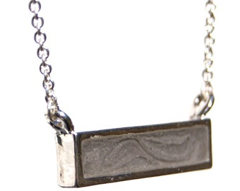 Lateral Bar Cremation Pendant - Sterling Silver Pet Cremation Jewelry