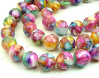 10mm Multicolored Rainbow Mother of Pearl and Resin Round Beads - 19pcs - Tropical, Pink, Red, Purple, Blue, Yellow, Mosaic - BP9