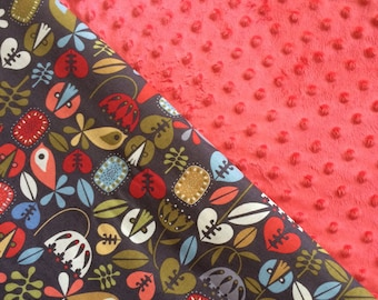 Baby Car Seat Canopy COVER or NURSING Cover: Birds and Flowers on Gray with Salmon Minky, Personalization Available