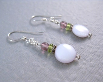 CLEARANCE Earrings, Mother of Pearl with Delicate Green and Purple Glass Beads, sterling silver ear wires, E 195
