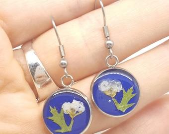 Real flower earrings, white flower earrings, pressed flower earrings, flower earrings, real flower jewellery, blue earrings, Delirium