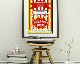 Personalized Dad Printable, Fathers Day gift, Custom Popcorn art for Dad, World's Greatest Pop, popcorn party prop Father's Day 2018