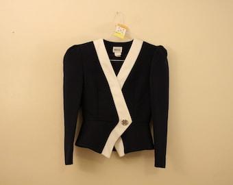 Fancy Navy Blue Embellished Peplum Blazer Jacket *Flat Rate Shipping* [Cute Vintage Sportscoat Coat Officewear Women's Size Small]