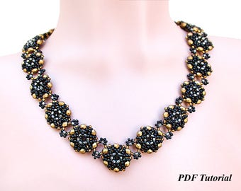 "Beaded Necklace Tutorial, Necklace Pattern, Double-sided Necklace, DIY Necklace, Beadwoven Necklace, Jewelry Tutorial, ""Kaya Necklace"""