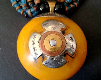 AFRICAN AMBER Embossed Tibetan Silver Pendant Choker Necklace / Unknown Origin / Bold and Chunky Statement Jewelry