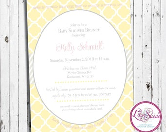 Criss cross yellow baby shower invitation - DIY - PRINT YOURSELF or purchase prints