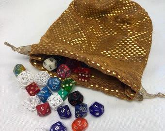 Gold Spandex XL Dice Bag