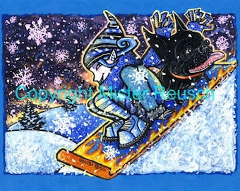 French Bulldog and Elf Sledding Original Winter Painting by Mister Reusch