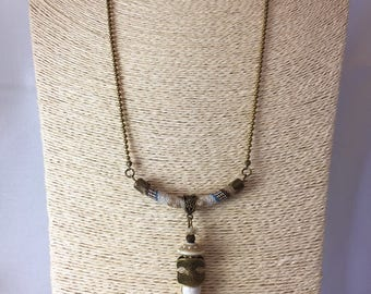 Necklace tribal fang Stone howlite, ethnic cotton cord and metal bronze